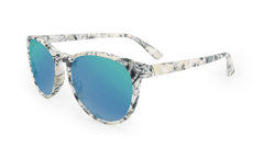 Mai Tais Sunglasses with Yellow Marble Frames and Green Moonshine Mirrored Lenses, Flyover