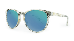 Mai Tais Sunglasses with Yellow Marble Frames and Green Moonshine Mirrored Lenses, Three Quarter