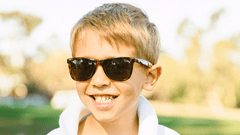 Kids Sunglasses with Tortoise Shell Frames and Brown Amber Lenses, LifeStyle