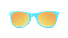 Kids Sunglasses with Turquoise Frames and Yellow Sunset Mirrored Lenses, Front