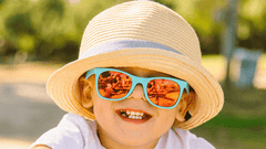 Kids Sunglasses with Turquoise Frames and Yellow Sunset Mirrored Lenses, LifeStyle