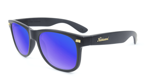 Fort Knocks Sunglasses with Matte Black Frames and Blue Moonshine Mirrored Lenses, Flyover