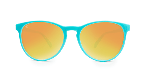 Mai Tais Sunglasses with Glossy Turquoise Frames and Yellow Sunset Mirrored Lenses, Back