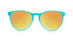 Mai Tais Sunglasses with Glossy Turquoise Frames and Yellow Sunset Mirrored Lenses, Front