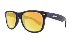 Fort Knocks Sunglasses with Matte Black Frames and Yellow Sunset Mirrored Lenses, Threequarter