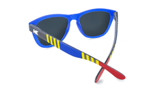 Sunglasses with Blue, Red, and Yellow Frames with Polarized Blue Moonshine Lenses, Back