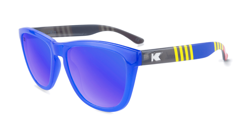 Sunglasses with Blue, Red, and Yellow Frames with Polarized Blue Moonshine Lenses, Flyover