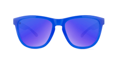 Sunglasses with Blue, Red, and Yellow Frames with Polarized Blue Moonshine Lenses, Front