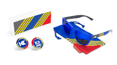 Sunglasses with Blue, Red, and Yellow Frames with Polarized Blue Moonshine Lenses, Set