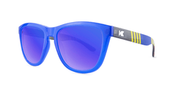 Sunglasses with Blue, Red, and Yellow Frames with Polarized Blue Moonshine Lenses, Threequarter