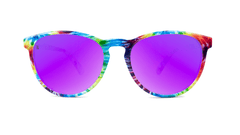 Sunglasses with Tie Dye Frames and Polarized Fuchsia Lenses, Front