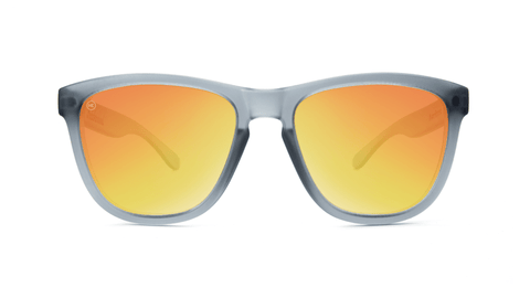 Premiums Sunglasses with Frosted Grey Frames and Red Sunset Mirrored Lenses, Back