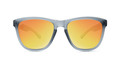 Premiums Sunglasses with Frosted Grey Frames and Red Sunset Mirrored Lenses, Front