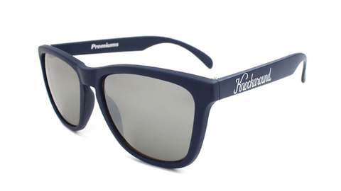 Sunglasses with Navy Blue Frames and Black Smoke Lenses, Flyover