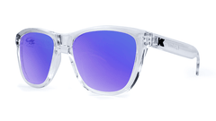 Premiums Sunglasses with Clear Frames and Blue Moonshine Mirrored Lenses, Threequarter