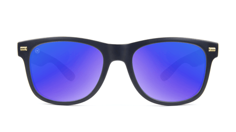 Fort Knocks Sunglasses with Matte Black Frames and Blue Moonshine Mirrored Lenses, Back