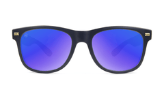 Fort Knocks Sunglasses with Matte Black Frames and Blue Moonshine Mirrored Lenses, Front