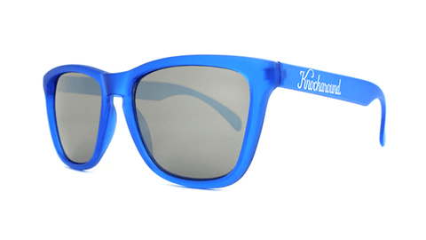 Sunglasses with Frosted Cobalt Frame and Smoke Lenses, Back