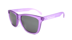 Sunglasses with Frosted Lavender Frame and Smoke Lenses, Flyover