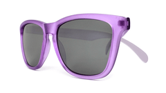 Sunglasses with Frosted Lavender Frame and Smoke Lenses, Folded