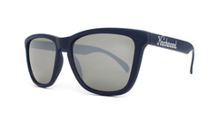 Sunglasses with Navy Blue Frames and Black Smoke Lenses, ThreeQuarter