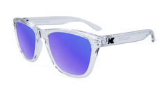 Premiums Sunglasses with Clear Frames and Blue Moonshine Mirrored Lenses, Flyover