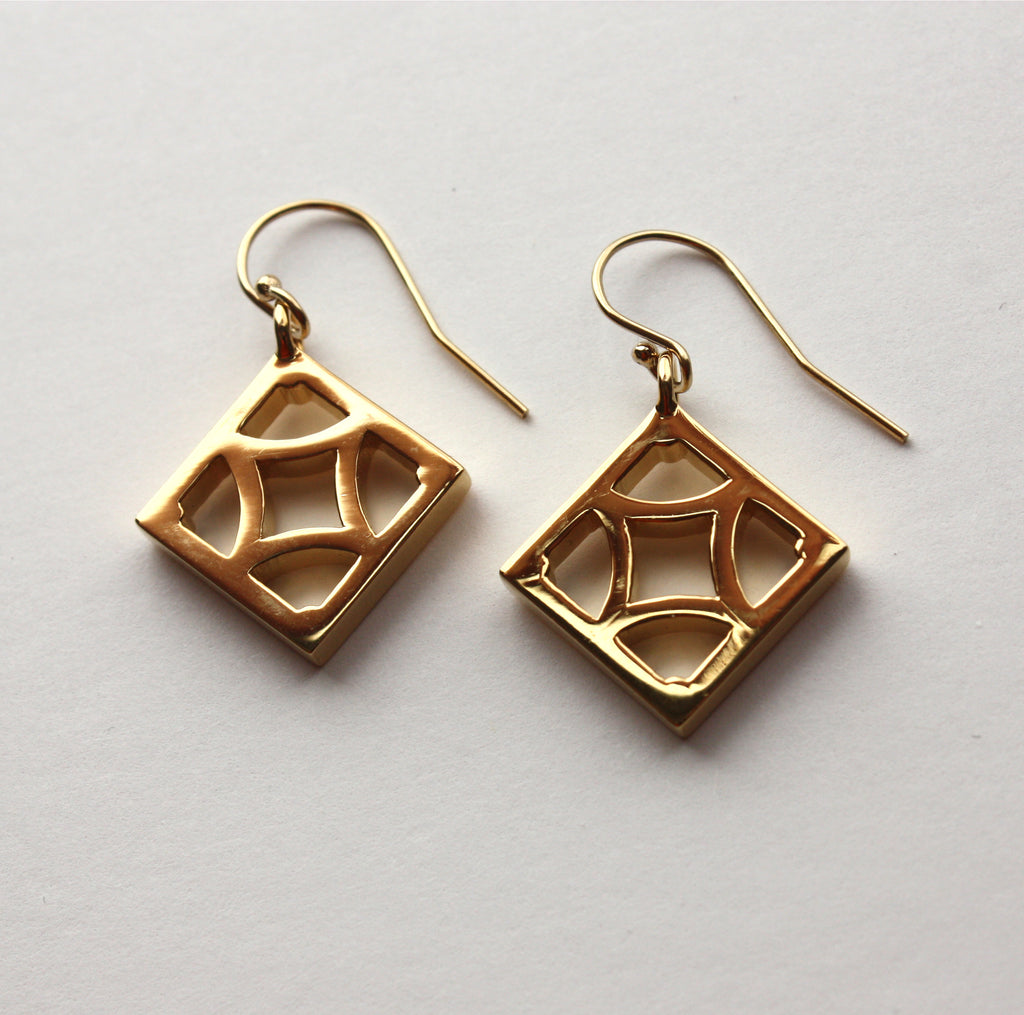 "Gold-plated Breeze Block Earrings - ""Empress"" block - Minty's Design"