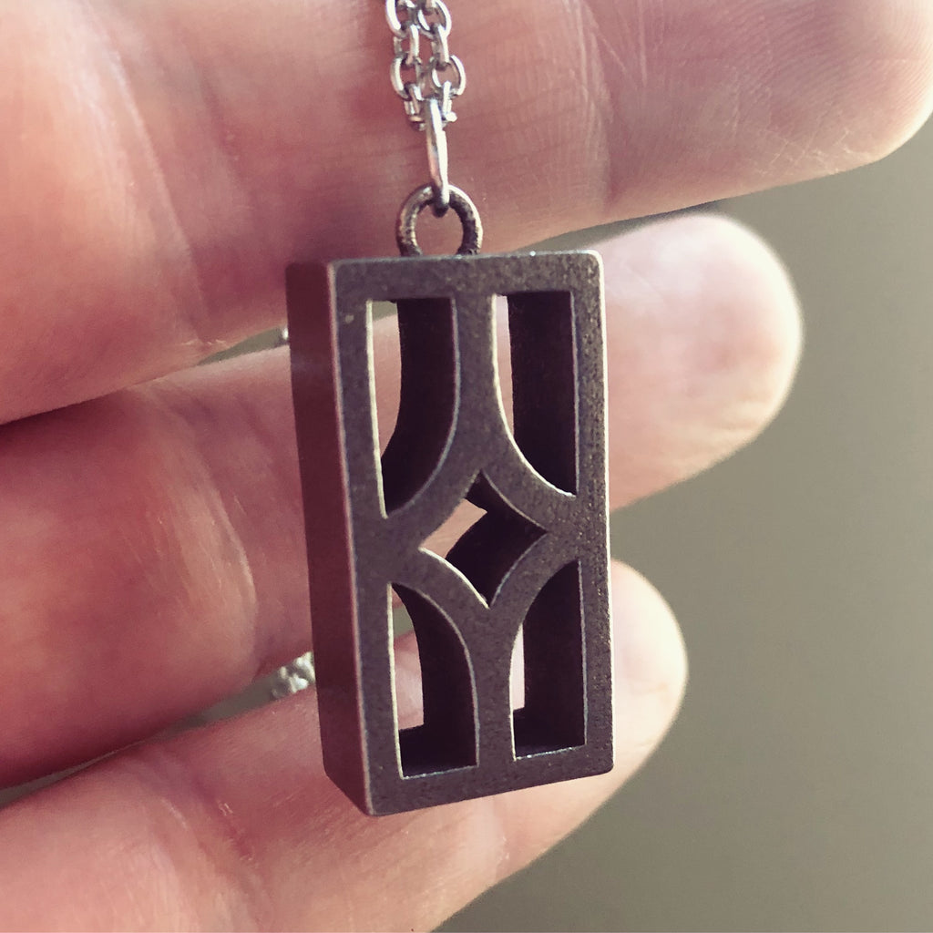 "Steel Breeze Block pendant - ""Starfire"" - Minty's Design"