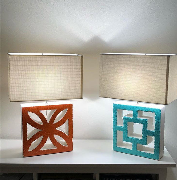 Breeze-Block Table Lamps - Pair - Minty's Design