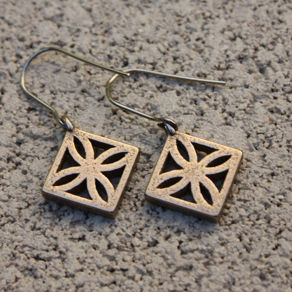 "Steel Breeze-Block Earrings - ""Sunflower"" block - Minty's Design"