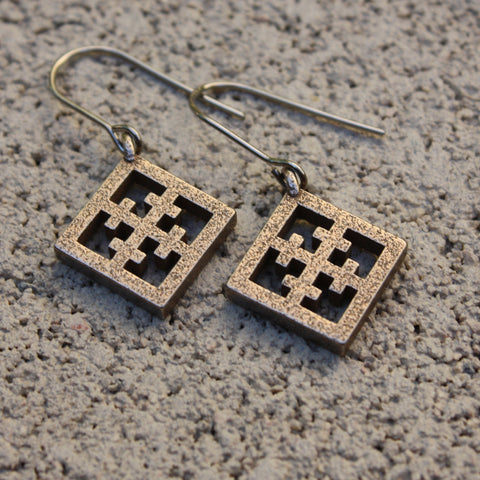 "Steel Breeze-Block Earrings - ""Maltese"" Block - Minty's Design"