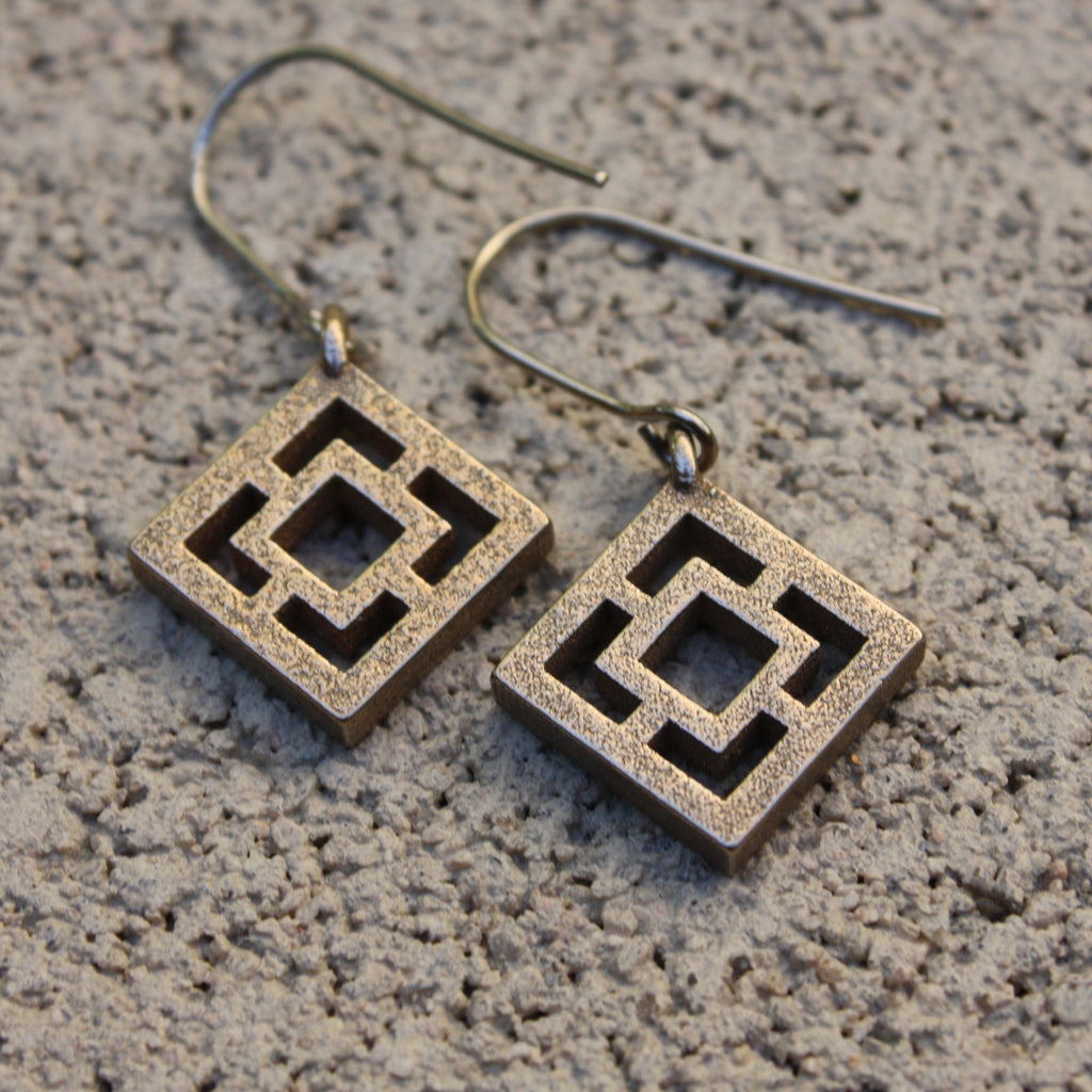 "Steel  Breeze-Block Earrings - ""Vista Vue"" block - Minty's Design"