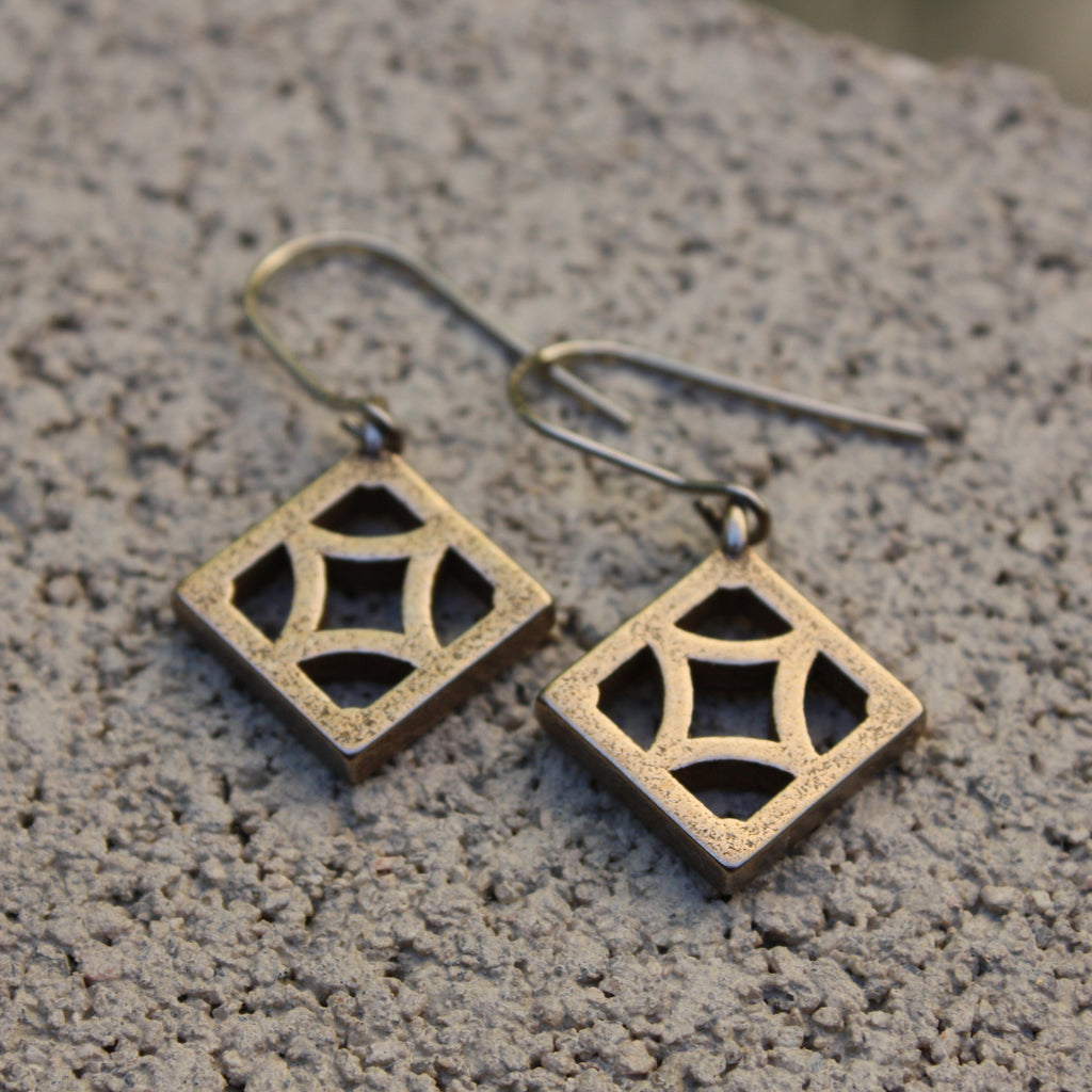 "Steel Breeze-Block Earrings - ""Empress"" block - Minty's Design"