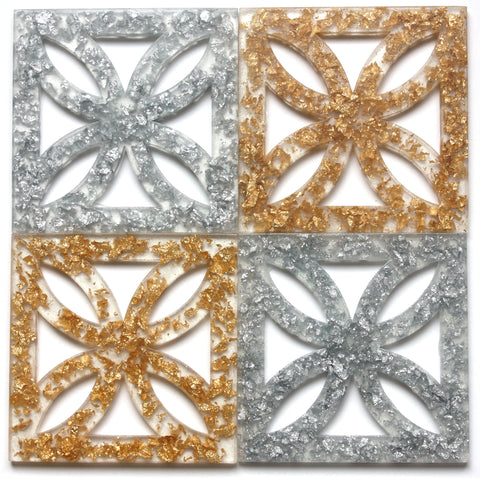 "Gold/Silver Leaf Breeze-Block Coasters - ""Sunflower"" - Minty's Design"