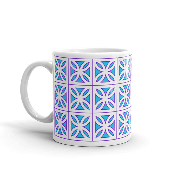 "Breeze-Block Mug - ""Sunflower"", Blue/Purple - Minty's Design"