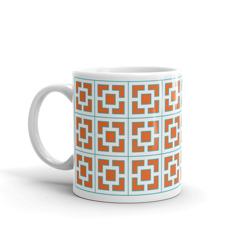 "Breeze-Block Mug - ""Vista Vue"", Orange/Aqua - Minty's Design"