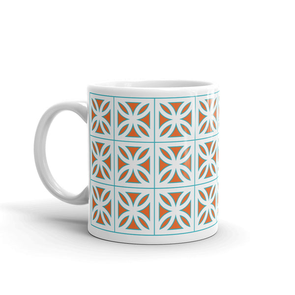 "Breeze-Block Mug - ""Sunflower"", Orange/Aqua - Minty's Design"