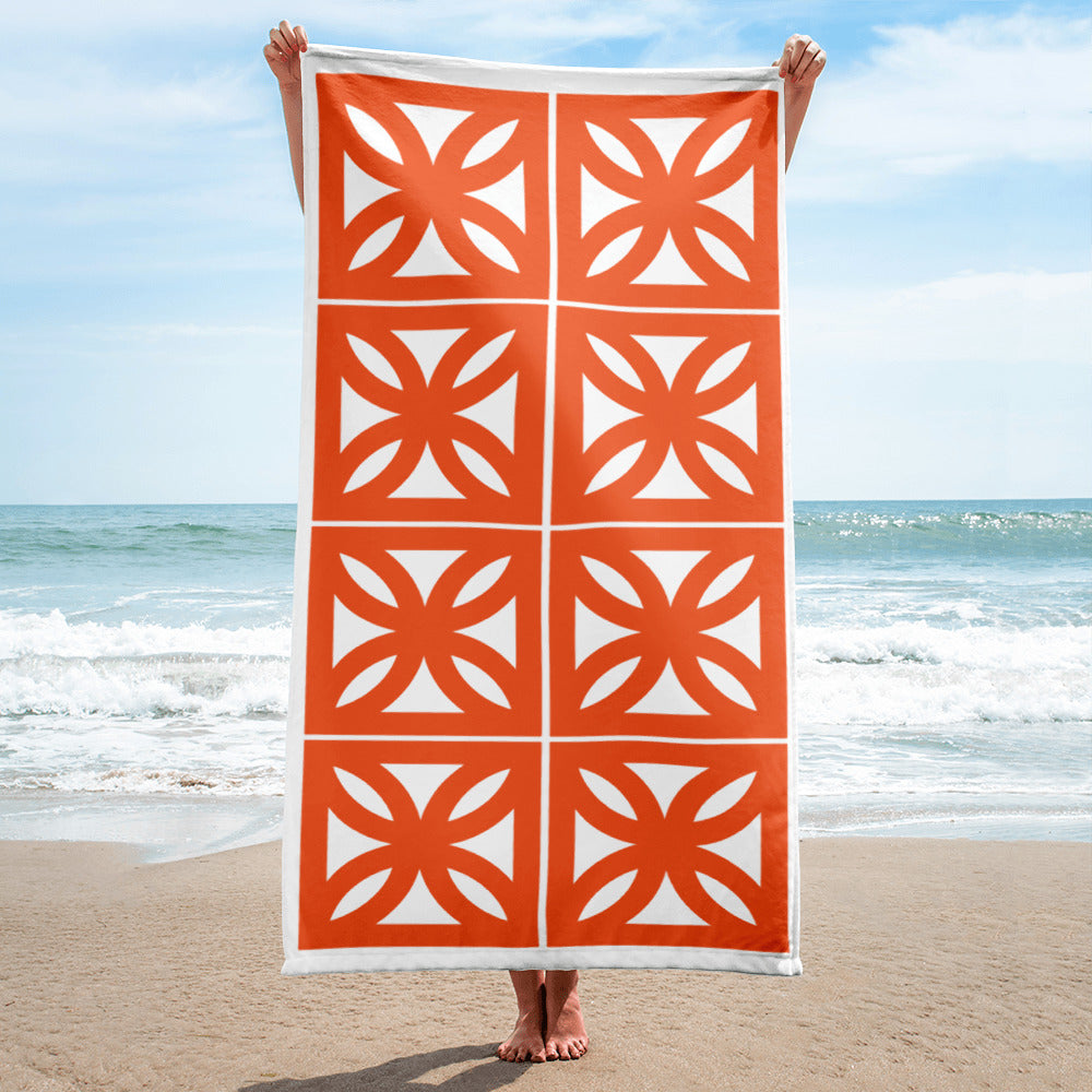 "Breeze-Block Pattern Towel - ""Sunflower"" block - Minty's Design"