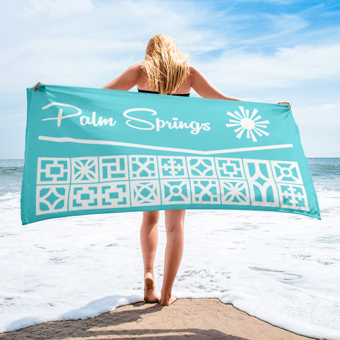 Roofline Towel - Palm Springs - Aqua - Minty's Design