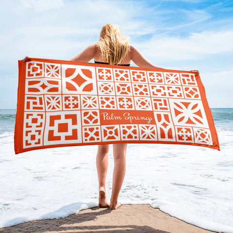"Breeze-Block Pattern Towel - ""The Mix"", Palm Springs, Orange - Minty's Design"
