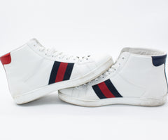 075e7086e4d GUCCI Ace Bee-Embroidered High-Top Leather Trainers in White. NEXT. PREV.  Zoom. Previous
