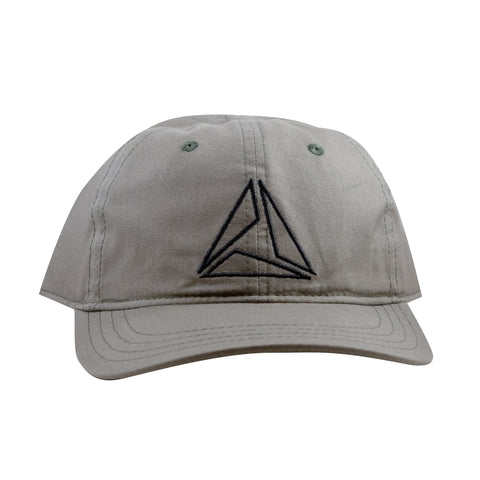LIGHTWEIGHT COTTON TRIANGLE CAP - DARK KHAKI/BLK