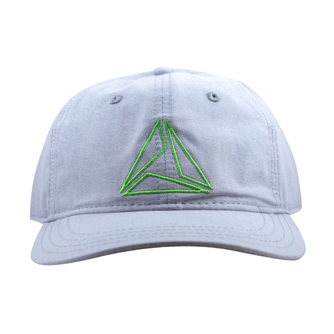LIGHTWEIGHT COTTON TRIANGLE CAP - LT GRAY/LIME