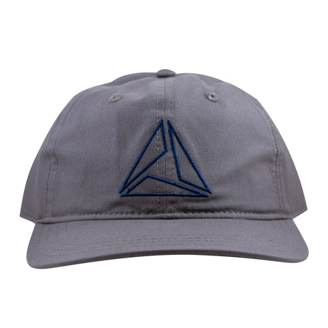 LIGHTWEIGHT COTTON TRIANGLE CAP - GRAY/NAVY