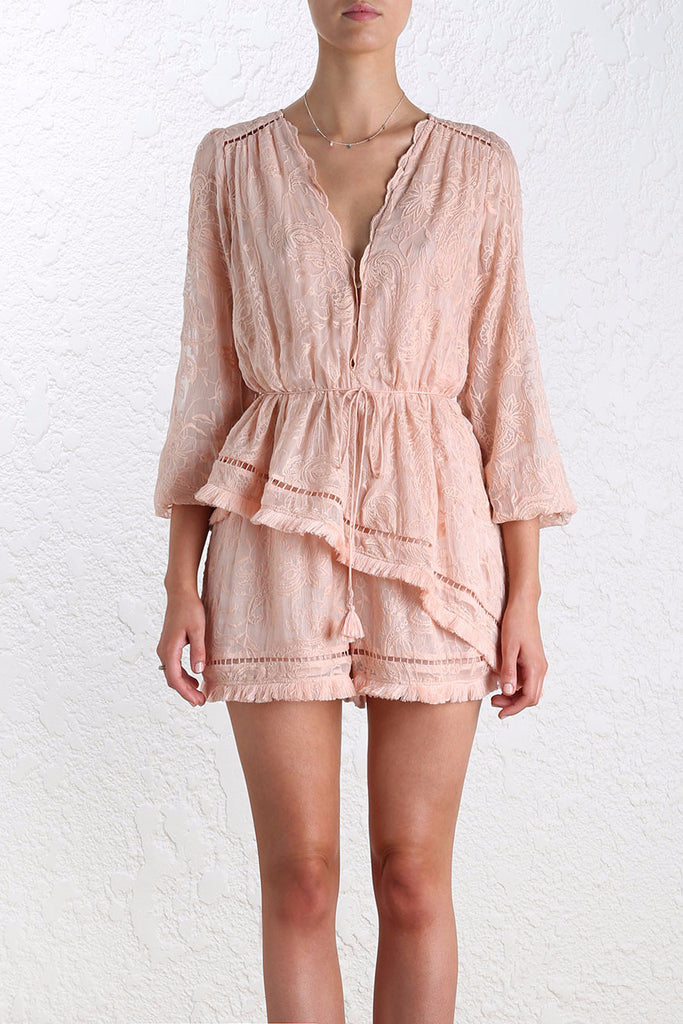 Zimmermann Henna Floating Fringe Playsuit in Rose - NO LONGER AVAILABLE - Never Twice
