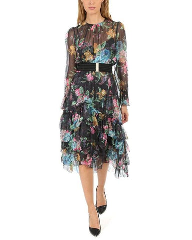 Zimmermann Ninety-Six Chevron Frill Dress in Black Blossom