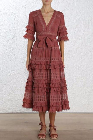 Zimmermann Corsair Frill Tier Long Dress in Vintage Rose