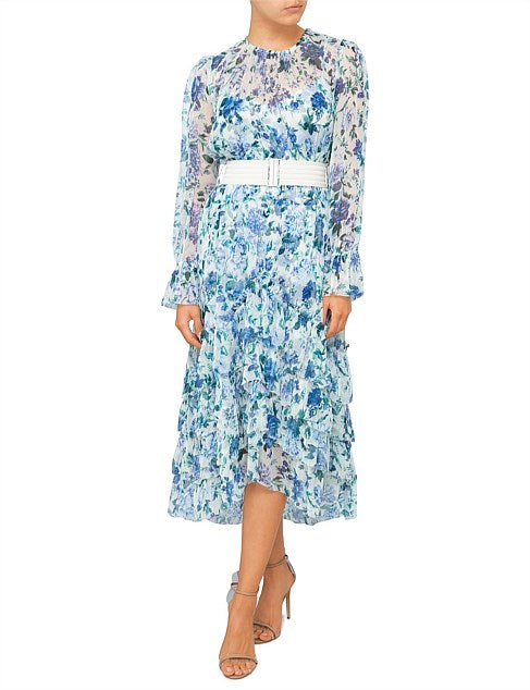 Zimmermann Moncur Chevron Frill Dress in Aquamarine Floral