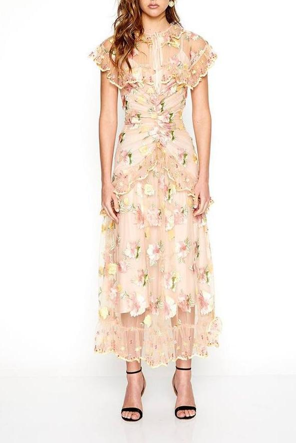 Alice McCall Floating Delicately Dress in Peach Floral