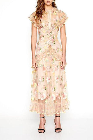 Alice McCall Floating Delicately Dress in Peach Floral - Never Twice